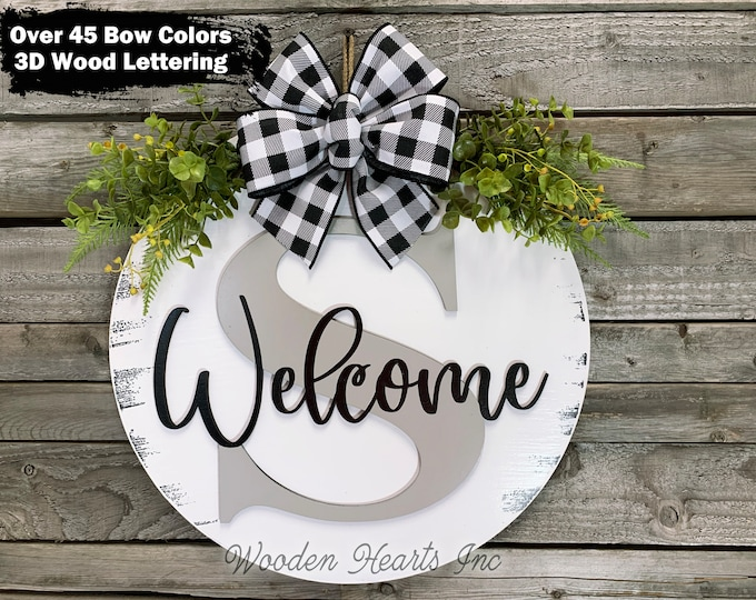 """WELCOME MONOGRAM + Letter Custom Door Hanger 16"""" Round name 3D Wood Welcome Sign Wreath Bow, Housewarming Gift, Personalized Wedding Gift"""