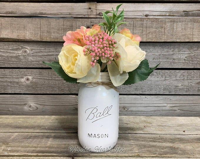 """Flower Bouquet 11"""" with Optional Mason QUART JAR - Wedding Centerpiece, Table Decor, Bridal Shower, Country Distressed, Painted Ball Jar"""