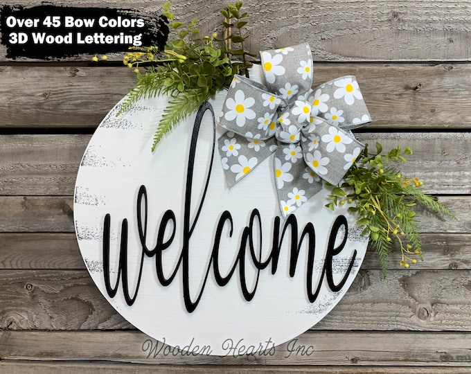 """Welcome Front Door Hanger 16"""" Round, 3D Wood Letters, Sign Wreath + Bow Ribbon Greenery, Everyday Sign, Fall Door Sign, Housewarming Gift"""