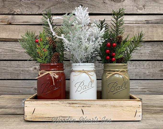 Mason Jar Centerpieces CHRISTMAS HOLIDAY Tray with 3 Jars, Wood Tray Kitchen Centerpiece, Holiday Decor, Xmas Gift, Holiday Centerpiece
