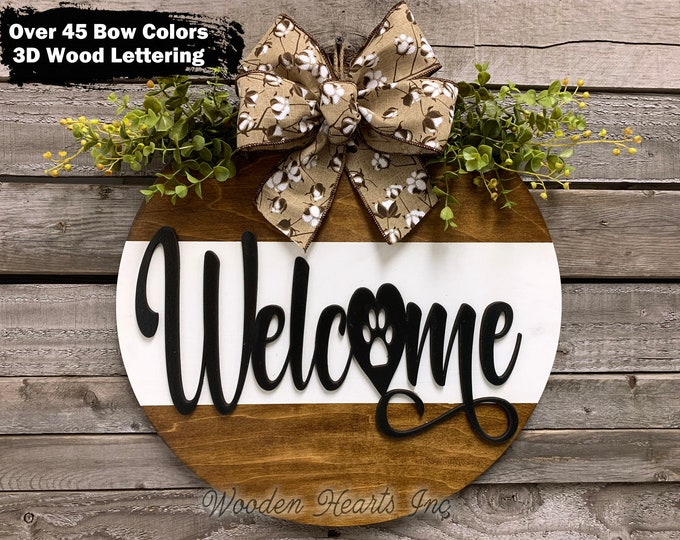 """Pawprint WELCOME Sign Front Door Hanger 16"""" Round with STRIPE, 3D Wood Wreath Cotton Bow Greenery, Everyday Sign, Fall Door Sign, Fall Decor"""