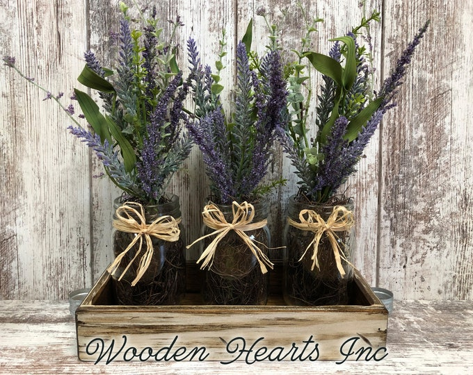 Table Decor for home *LAVENDER purple flower arrangement in rustic wood TRAY *3 pint canning jars *Kitchen Table Centerpiece *Distressed