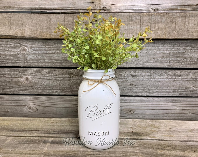 MASON Jar WEDDING Table Decor Distressed Ball QUART Painted White Tan Brown Gray Teal Blue *Great for Centerpiece (Flower Optional)