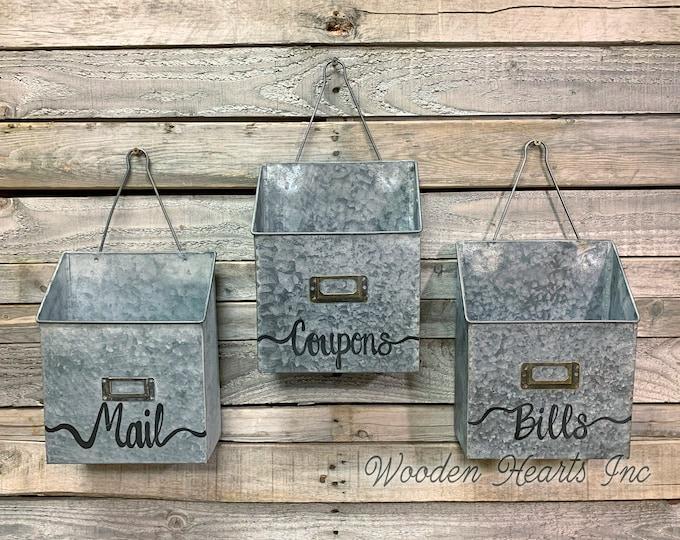 MAILBOX Wall Mount ORGANIZER Bin Rustic Metal Farmhouse Office Decor *Letter Mail Bills Coupons Magazine Card Envelope Paper Holder *Storage