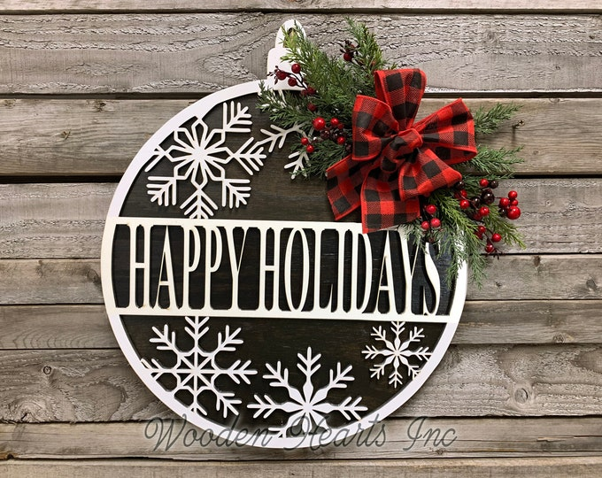 """Door Sign Merry Christmas, Happy Holidays, Seasons Greetings, Let it Snow, Wood Wall Mount 12"""" or 16"""" Circle 3D, Home Decor Round, Xmas Gift"""