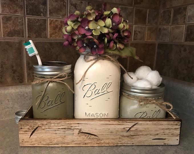 MASON Jar Bathroom SET in Antique White TRAY, Toothbrush Holder, Quart Vase, Short Pint Cotton Ball Jars, Painted Distressed Counter Decor