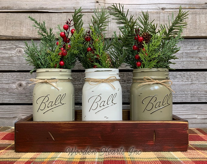 Mason Jar Centerpieces CHRISTMAS HOLIDAY Tray with Jars, Christmas Gift, Kitchen Table Centerpiece, Holiday Table Decor, Holiday Tray + Jars
