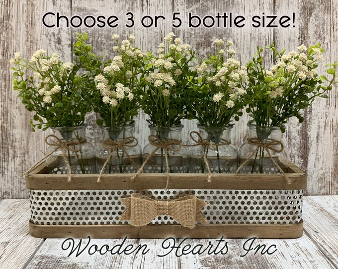 Centerpiece for Table *Farmhouse Tray with BURLAP BOW 3 or 5 glass bottle jars (greenery is optional) *Rustic Wedding Decor *Flowers *Gift