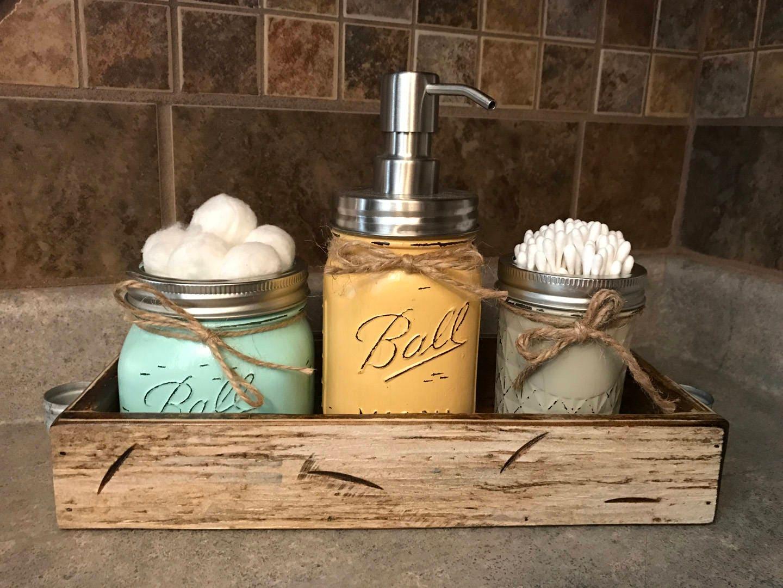 Mason Jar Bathroom Set In Antique White Tray Cotton Ball