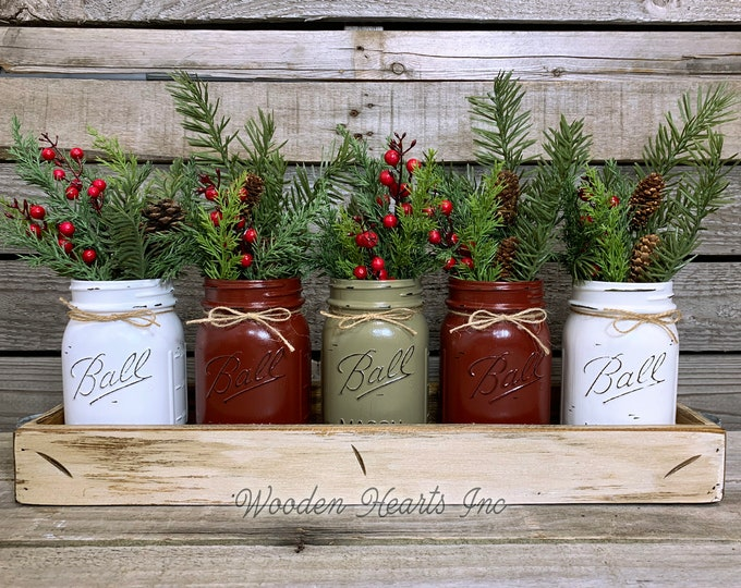 Mason Jar Centerpieces CHRISTMAS HOLIDAY Large Tray with 5 Jars (Florals optional) Distressed Wood Antique WHITE pine flowers Ball Pint