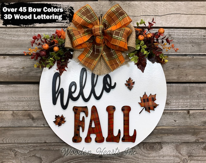 """Hello FALL Door hanger Wreath Welcome Sign with Cutout 3D LEAVES, Wood Round Wall 16"""" Sign, 3D Wood Lettering + Bow, Distressed White Orange"""