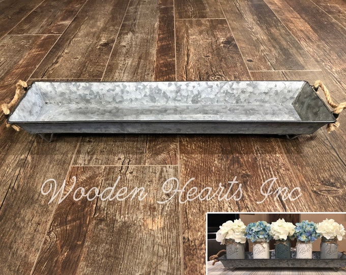 TRAY METAL Large with ROPE Handles, Create a kitchen table centerpiece with Mason Jars, Farmhouse Decor, Kitchen Farmhouse Decor