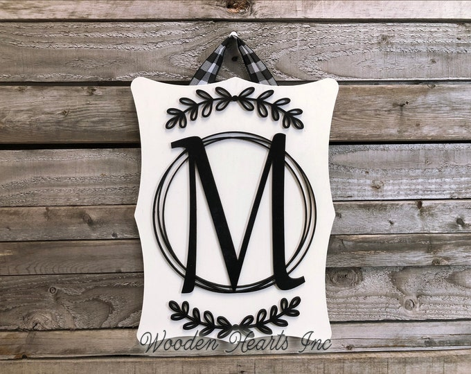 Monogram Sign for Wall, 3D CUSTOM Name Wood Sign SCALLOPED Edge, Family, PERSONALIZED Wedding Shower Housewarming Gift
