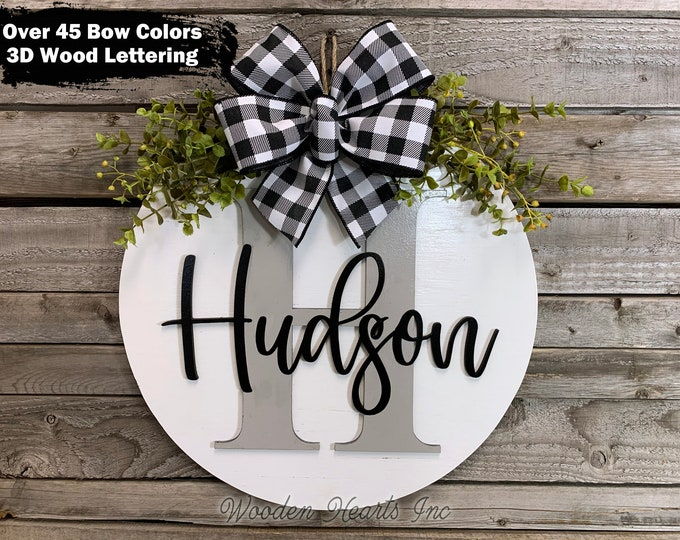 "Custom MONOGRAM Door Hanger, 16"" Round, 3D Wood Letter Name, Welcome Sign, Wreath Bow, Housewarming Gift, Fall Decor Sign, White Gray Black"