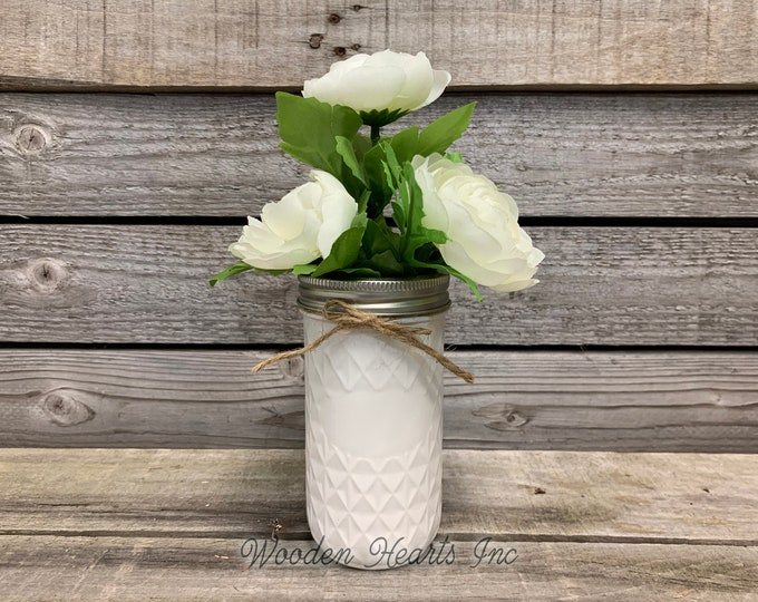 MASON Jar WEDDING Table Decor Distressed Tall QUILTED Ball Painted White Tan Brown Gray Teal Blue *Great for Centerpiece (Greenery Optional)