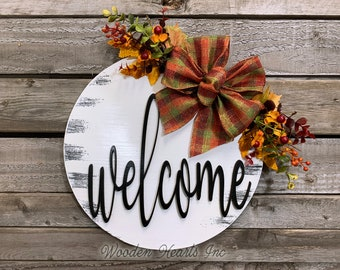 """FALL Door hanger Wreath, Welcome Sign, Hello Sign, Wood Round Wall Sign, 12"""" or 16"""" 3D Wood Lettering, Bow  Leaves, Distressed White Orange"""