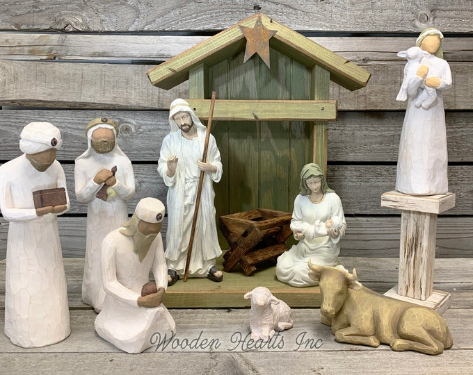 STABLE CRECHE Fits Willow Tree Nativity Fireplace MANTLE Wood *Lighted Christmas Personalized Baby Manger Angel Stand Lights White Brown