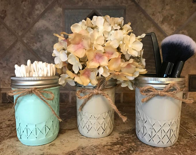 MASON Jar Decor Distressed Ball MINI QUILTED Hand Painted Jars Cream Tan Brown Gray Teal Blue Bathroom Kitchen Q-tip Makeup Toothpick Holder