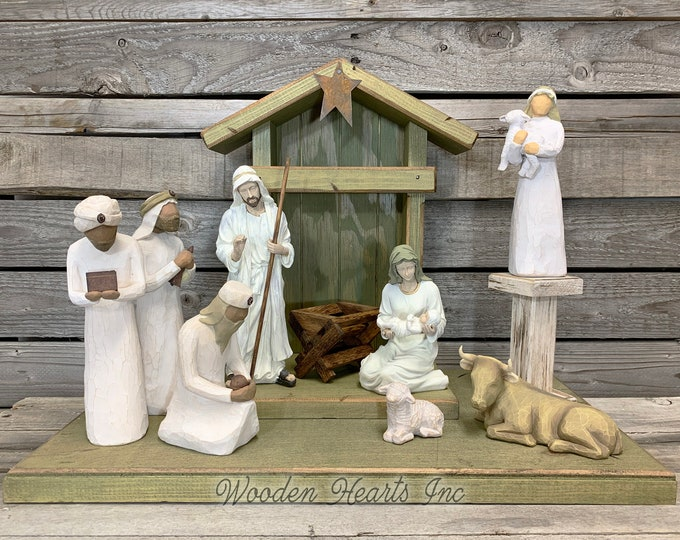 Nativity Stable WOOD CRECHE fits Willow Tree Angels *Lighted Distressed Christmas Decor *Personalized Sign Lights Baby Manger Angel Stand