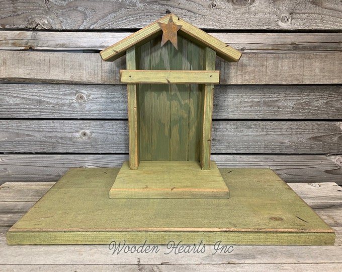 Custom Willow Tree Creche Compatible STABLE WOODEN Nativity *Lighted Christmas Decor Personalized Baby Manger Angel Stand Lights Green Brown