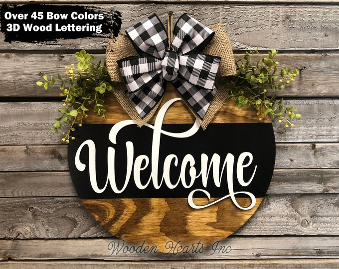 """WELCOME Sign Front Door Hanger 16"""" Round with STRIPE, 3D Wood Wreath Bow, Porch Everyday Sign, Fall Sign, Housewarming, Anniversary Gift"""