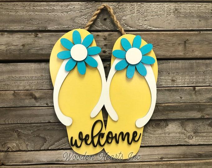 Welcome FLIP FLOP SIGN Lake Life, Door Hanger 3D Wood Wall Beach House Ocean Summer Flip Flops Cutout Shaped Decor Yellow Blue White Flowers