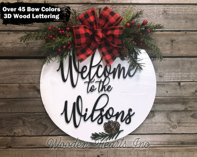 """Personalized Christmas Holiday Door Hanger Wreath, Wood Round Pinecone Sign + Custom Name, Merry Christmas, 16"""" 3D Wood Lettering Bow, Gift"""