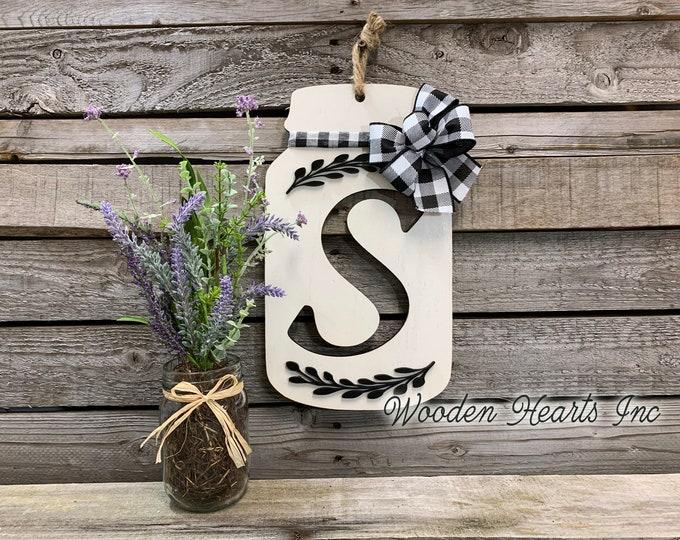 "Mason Jar Decor Wall LETTER JAR with BOW Personalized Hanging Sign Last Name Family Teacher Wedding Wood Monogram Custom Gift 13"" x 7.5"""