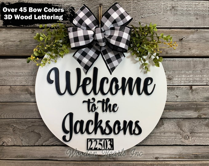 """ADDRESS Sign for House, Door Hanger Personalized Last Name, Welcome Wreath Custom, Est Date, Apt Number # Front Everyday 16"""" Round White"""