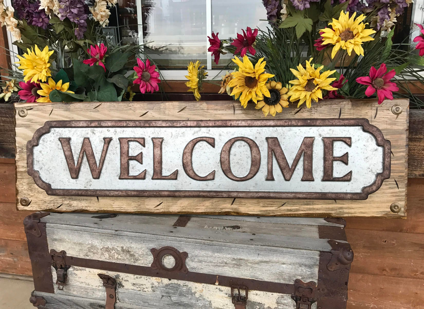 WELCOME Sign For Porch Rustic Metal On Distressed Wood Antique Red White Blue Gray Reclaimed Industrial XL Large 41 Wall Signs Home Decor