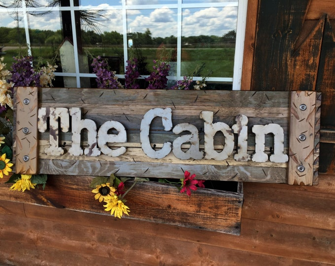 THE CABIN Rustic Sign BLUE Green Reclaimed Shutter Distressed Industrial Navy Hunter Metal Large Pallet Wall Lake Gift Home Decor Log