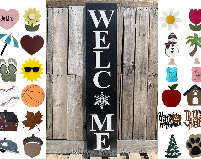 """Holiday Season Changer Welcome Sign 45"""", Large Vertical Porch Interchangeable Sign, Front Door, Seasonal, Housewarming Gift, Black Christmas"""