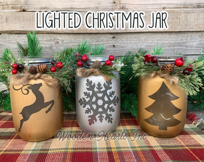 Christmas Jar Decoration Reindeer Snowflake or Tree with Lid Lights Mason Silver Gold Glass Quart Holiday Xmas Decor Winter Pine Berries