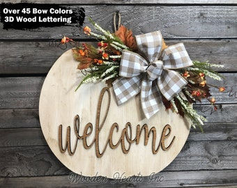 """FALL Door hanger PUMPKIN sign, Wreath WELCOME or Blessed Sign, Porch, Wood 16"""" 3D Wood Custom, Leaves, Autumn, Fall Decor Sign, White Orange"""