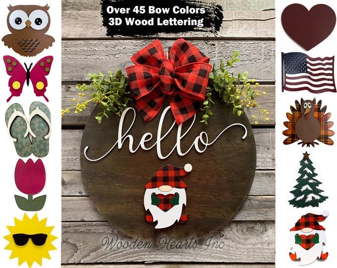 Welcome Door Hanger Hello Wreath porch Front Door Interchangeable Season Changer Christmas Gift Santa Tulip Heart