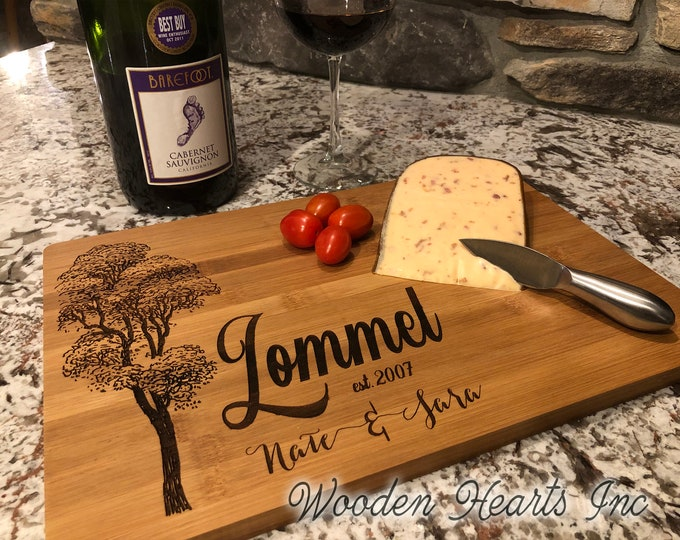 CUTTING BOARD Custom PERSONALIZED Engraved Quality Wood Wedding Housewarming Anniversary Gift Family Name Sign Established Date Year Tree