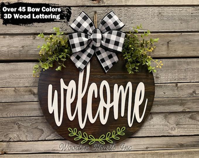 """WELCOME Door Hanger Sign, Front door Custom Wreath with Bow, Home Decor, Fall Door Sign, Anniversary Wedding Gift, Everyday 16"""" Round Sign"""
