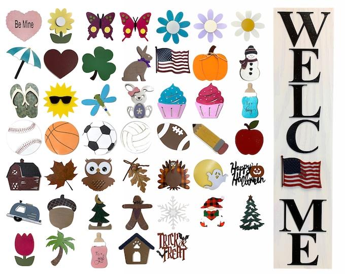 WELCOME Sign with 6 Interchangeable SEASON CHANGER Pieces *Vertical Outdoor *Heart Clover Bunny Flag Pumpkin Snowman *Veterans Day Christmas