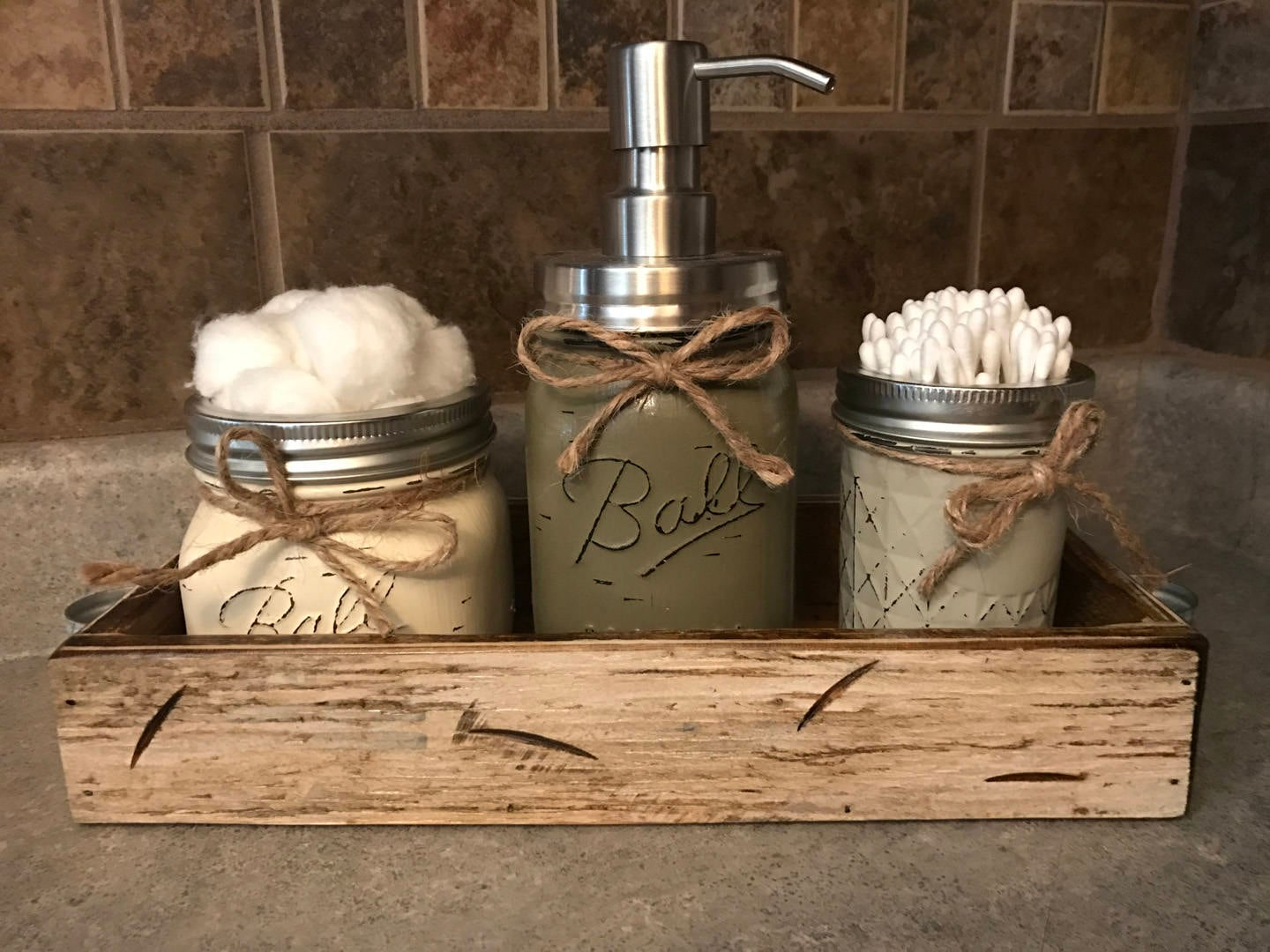 MASON Jar Bathroom SET In Antique White TRAY, Cotton Ball Holder, Soap  Dispenser, Mini Q Tip Jars Painted Distressed Counter Decor Kitchen