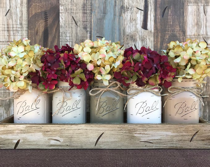 MASON Jar Decor Centerpiece (Flowers optional) -Antique Kitchen TRAY with Reclaimed Handles 5 Ball Canning Painted Pint Jars Distressed Wood