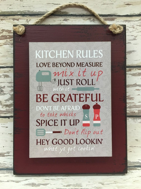 kitchen rules sign love beyond measure be grateful spice it | etsy