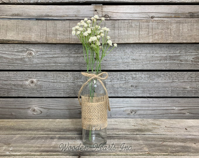 Glass bottle jar with burlap ribbon WITHOUT GREENERY *kitchen table centerpiece, rustic country flower vase