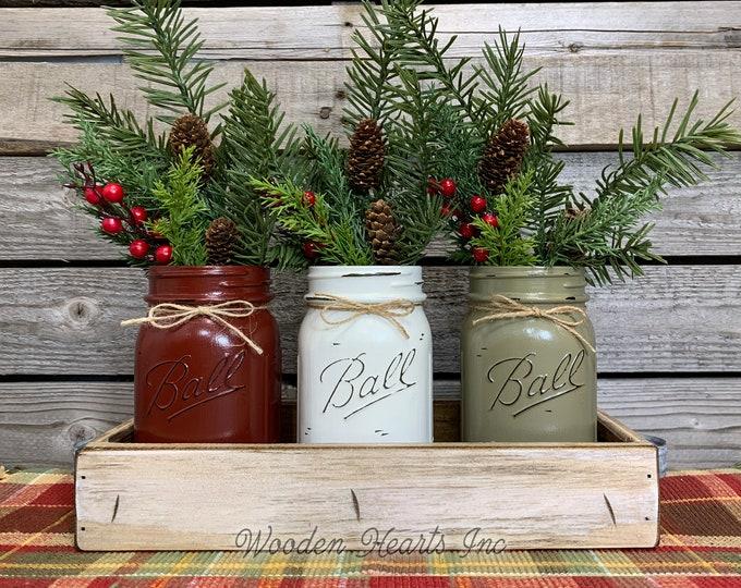 Mason Jar Centerpieces CHRISTMAS HOLIDAY Tray 3 Jars, Wood Holiday Tray, Kitchen Table Decor, Christmas Gift, Christmas Decor, Holiday Jars