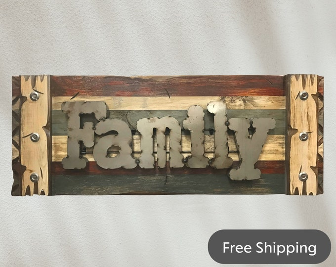 FAMILY Wall Sign Rustic Reclaimed Distressed Industrial Blue Green Red Metal Large Pallet Home Decor Log Cabin Gift Shutter 36x14