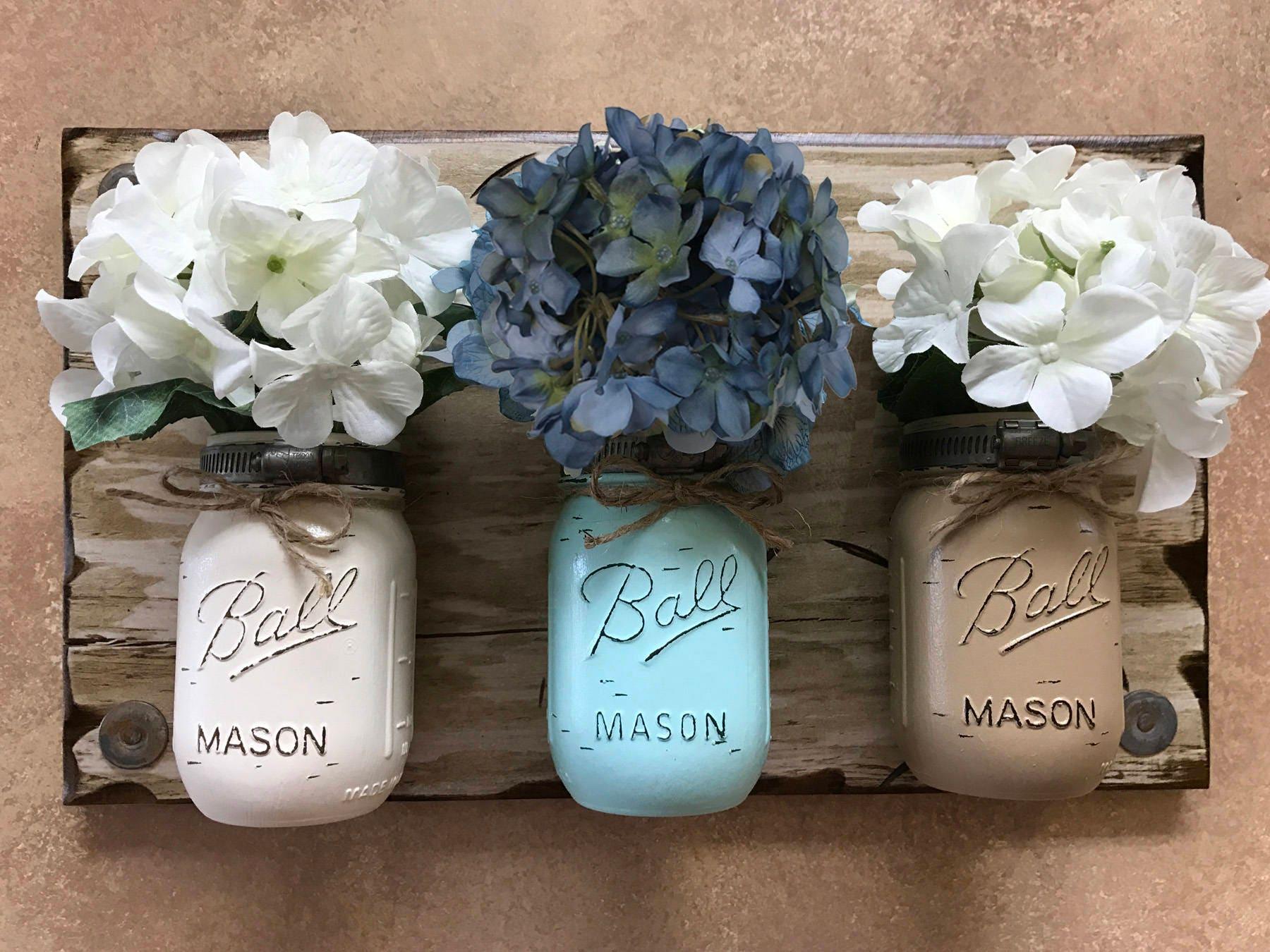 Mason Jar Wall Decor Sconce Flowers Optional Kitchen Utensil