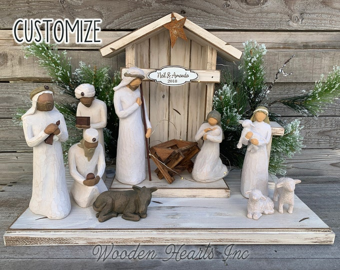 STABLE for Nativity WOOD CRECHE fits Willow Tree Angels *Distressed Barn *Christmas Decor Stables *Baby Manger *Angel Stand *White Brown