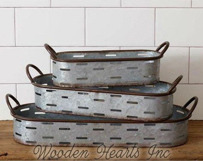 Galvanized Tray with Handles, Farmhouse Decor, Oval Olive Tray, Small Medium Large or as a SET of 3, Metal Country Planter Box Bin