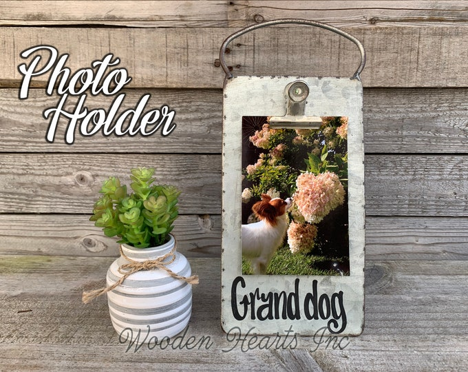 Grand dog PHOTO HOLDER Metal Antique Cheese Grater with Clip/Clipboard Picture Frame great for 4x6 photos -Vintage Rustic Silver, Grand kids