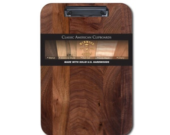 Walnut Clipboard with Low Profile Clip, Optionable Engraving, Free Priority Mail