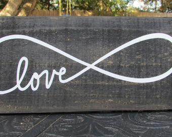 Love Infinity sign, Love infinity home decor, rustic wall sign, rustic sign, rustic home decor, rustic wall decor, country home decor